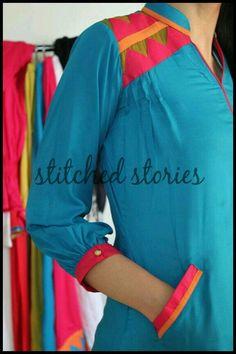 Stitched Stories Summers Kurta Collection 2012 For Women 15 Salwar Kameez Neck Designs, Salwar Designs, Kurti Designs Party Wear, Fancy Kurti, Kurta Style, Pakistani Street Style, Kurti Patterns, Pakistani Outfits, Indian Outfits