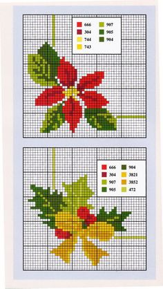 Poinsettia cross stitch.