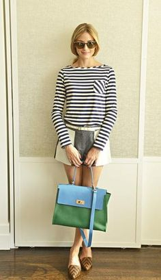 Who made Olivia Palermo's blue stripe tee, cat sunglasses, white belt, colorblocked shorts, and brown print loafers Estilo Olivia Palermo, Olivia Palermo Lookbook, Star Fashion, Fashion Outfits, Vestidos Zara, Sweater And Shorts, Love Her Style, Cute Woman, Mode Inspiration