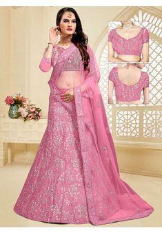Pink Embroidered Art Silk Lehenga Choli