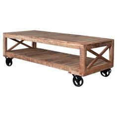 Handmade planked wood coffee table with a bottom display shelf and iron casters.    Product: Coffee tableConstruct...