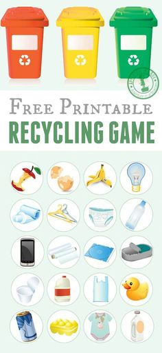 Free printable recycling game for kids. Just print the template, cut the tokens and play! Good for introducing the recycling basics and also as an Earth day activity for kids. Earth Day Activities for Kids Recycling Games, Recycling For Kids, Recycling Bins, Recycling Activities For Kids, Educational Games For Kindergarten, Kids Learning, Recycling Programs, Teaching Kids, Earth Day Activities