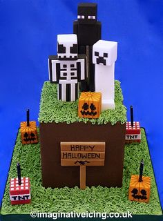 Halloween Minecraft Cake, grass cube, skeleton, square pumpkins, ghost creeper, tnt, Enderman