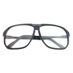 Retro Oversize Clear Lens Nerd Square Aviator Glasses