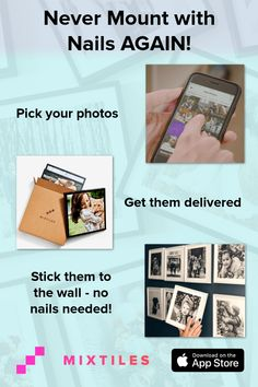Make the perfect gallery wall-- fast! Get your phone pics printed, framed, & home delivered. Stick them to the wall and that's it! No nails, no holes, no hardware. Try Mixtiles with a money-back satisfaction guarantee on every order! Home Projects, Projects To Try, Hanging Pictures, Do It Yourself Home, Photo Displays, Getting Organized, Diy Gifts, Diy And Crafts, Easy Diy