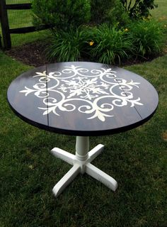 stencil table - this is cute for the breakfast area off of the kitchen