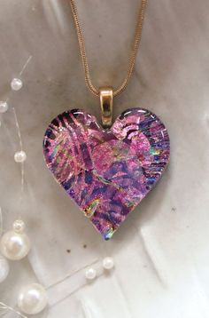 Fused Dichroic Heart Pendant, Glass Jewelry, Pink, Magenta, Gold, Necklace Included, One of a Kind