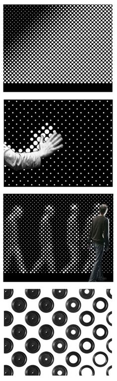Designed by Berlin interactive artists Gunnar Green and Frederic Eyl, Aperture includes dozens of tiny aperture holes that (with a slight delay) open if there is no light and closes if there is. The result is the silhouette of passersby.     It is a facade installa