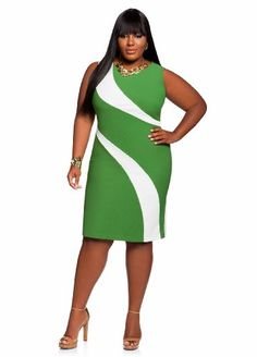 Ashley Stewart Women's Plus Size Wave Color Block Dress