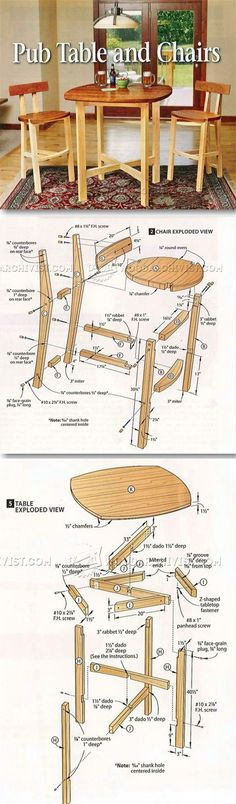 Table and Chairs Plan - Furniture Plans and Projects | WoodArchivist.com/
