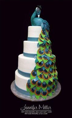 Cool Cake Designs -A peacock cake Gorgeous Cakes, Pretty Cakes, Cute Cakes, Amazing Cakes, Peacock Cake, Peacock Wedding Cake, Feather Cake, Peacock Theme, Crazy Cakes