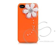 3D Pearl Flower Series iPhone 4 and 4S Crystal Cases - Orange