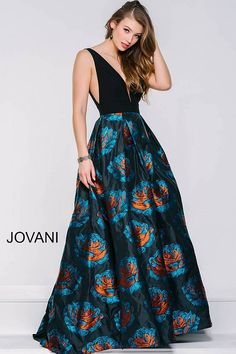 58e5fbde03 Black and floral print ballgown with a full skirt