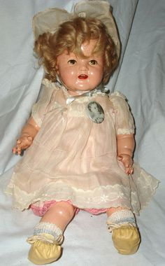 "VINTAGE IDEAL DOLL 18"" RARE SHIRLEY TEMPLE BABY DOLL SIDE to SIDE EYES"