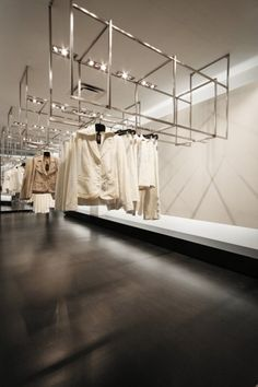 Hang from ceiling Store Design : Raffinati Store by Blazys Gerard Boutique Interior, Boutique Design, Shop Interior Design, Retail Store Design, Retail Shop, Commercial Design, Commercial Interiors, Store Concept, Cool Retail