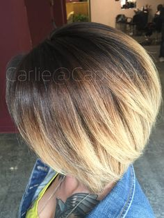 Beautiful short hair Balayage ombre. Cut and color by Carlie Childers @Captivate. Swing bob. Asymmetrical. Black to blonde. Blended. Kentucky. Hair color.