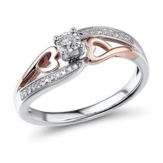 Diamond Promise Ring 1/10 ctttw in 10k Rose Gold and Rhodium Plated Sterling Silver