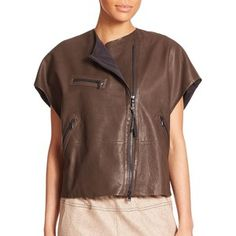 Brunello Cucinelli Leather Moto Top