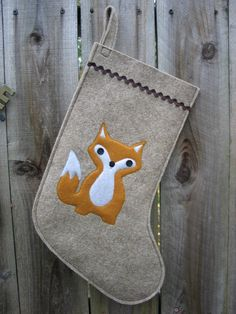 Christmas Stocking Woodland Baby Fox made of wool felt wool ecofelt