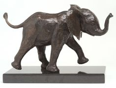 Bronze resin, cold cast bronze. Bronze SOLD OUT #sculpture by #sculptor Camilla Le May titled: 'Young Eleph in mock charge (Baby Elephant sculptures/statuette/statue)'. #CamillaLeMay