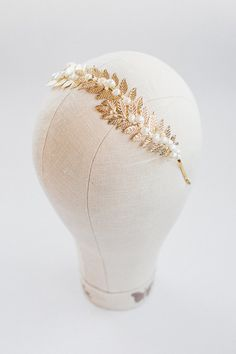 Gold bridal crownBridal gold tiara Gold leaf wedding by Leteria