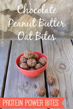 Easy REAL food snacks for kids: Chocolate Peanut Butter Oat Bites {Protein Packed} From WholesomeMommy.com