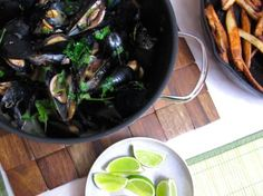 Cilantro Lime Moule Frites. Belgian beer-steamed mussels with cilantro and lime, and a recipe for Easy Crisp Oven Fries.