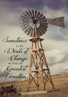 Sometimes in the winds of change we find our greatest direction