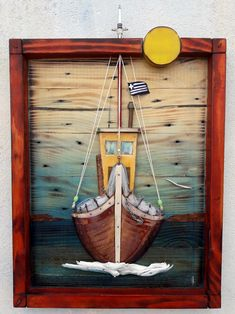 Beach Themed Crafts, Beach Crafts, Beach Scene Painting, Creation Crafts, Wood Pallets, Pallet Wood, 3d Wall Art, Nautical Art, Woodworking Patterns