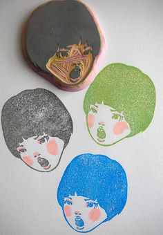 Hand carved rubber stamp 3/9 by DearYouFromKozue, via Flickr