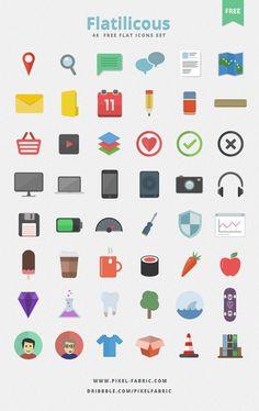 Flatilicious - 48 Free Flat Icons |Design Resources