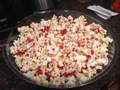 Blood spatter popcorn for Dexter finale - (white chocolate with red food coloring drizzled on popped popcorn