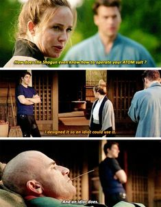 How does the Shogun even know how to opérate you ATOM suit? - Sara, Ray, Mick and Nate Dc Tv Series, Dc Comics Series, Legends Of Tommorow, Dc Legends Of Tomorrow, Supergirl Dc, Supergirl And Flash, Mick Rory, Leonard Snart, Superhero Shows