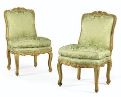 date unspecified PAIR OF GILTWOOD CHAIRS, EARLY LOUIS XV Estimate 8,000 — 12,000 EUR 10,400 - 15,600USD LOT SOLD. 8,125 EUR (10,562 USD) (Hammer Price with Buyer's Premium)