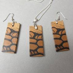 Black & White Ebony, Exotic Wood Earrings and Pendant Long dangle Rectangle handcrafted recycled Handmade Bracelets, Earrings Handmade, Handmade Jewelry, Handmade Items, Wood Earrings, Dangle Earrings, Wood Supply, Earring Box, Recycled Wood