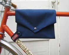 Use an old t shirt to make this an #ecodiy!! bike bag ... TopTube VeloPocket navy cordura by HamboneDesigns, $35.00