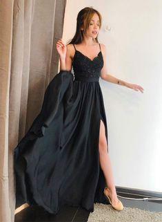 black v neck lace long prom dress M4031