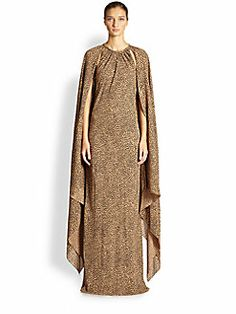 Michael Kors - Silk Cape-Sleeve Gown