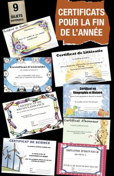 Certificats pour féliciter les élèves pour leur bon travail: Français, Géographie, Science, Entraide, Effort soutenu, etc Teaching Aids, Teaching Tools, Teaching Resources, French Teacher, Teaching French, End Of School Year, Too Cool For School, Classroom Tools, School Classroom
