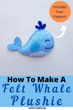 We've got the perfect sewing project for you and the kids! Learn How To Make A Felt Whale with Free Pattern! The pattern makes it easy. You don't have to be an artist to make a super cute whale plushie. This sewing project is perfect for beginners and kids. They can make the whale plushie and then give it away as a gift. So cute! Easy sewing project. How To Make A Felt Whale with Free Pattern