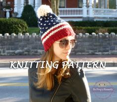 Patriotic Beanie KNITTING PATTERN - Fair Isle American Flag Hat Pattern - Knit Beanie Pattern - Pom Pom Ski Hat Pattern - USA beanie pattern by BoPeepsBonnets
