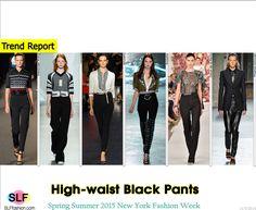Classic Yet Trendy: High-waist Black Pants Trend at NYFW SS 2015: - Sportive tight high-waist black pantsatAlexander Wang, - Sportive wide high-waist black pantsatLacoste, - Skinny high-waist black leggingsatAltuzarra, - Tight high-waist black pantsatRodarte, - Tailoredhigh-waist black pantsatOscar de la Renta, - Masculinehigh-waist black leather pants atProenza Schouler, SpringSummer 2015 New York Fashion Week. #SS15 #NYFW #SS2015