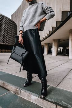 cropped turtleneck and satin skirt Satin Skirt, Silk Skirt, Satin Dresses, Silk Dress, Dress Skirt, Winter Dress Outfits, Skirt Outfits, Photo Portrait, Mode Inspiration
