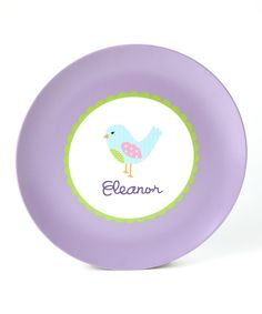 Look what I found on #zulily! Bird Personalized Plate by Lima Bean Kids #zulilyfinds