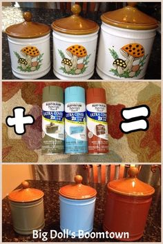 Spray Painting ceramic cannisters