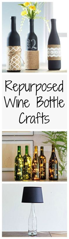 You'll want to start drinking wine right after you see these wine bottle crafts. #BottleLamp