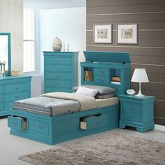 Features:  -Dove tail drawers.  -French and French country style.  -2 drawers on top, 2 drawers on the side and 2 drawers in the front.  Frame Material: -Wood.  Bookcase: -Yes.  Headboard Included: -Y