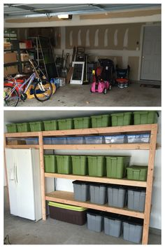 Open shelving in a garage is a great storage solution. I love this idea to organize my garage. May do something similar. Garage organization ideas. Garage shelving ideas. Best garage storage pins.
