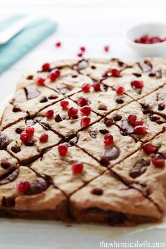 Healthy Choc Chunk and Pomegranate Slice | The Whimsical Wife