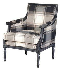 Black Frame Check Pattern Chair